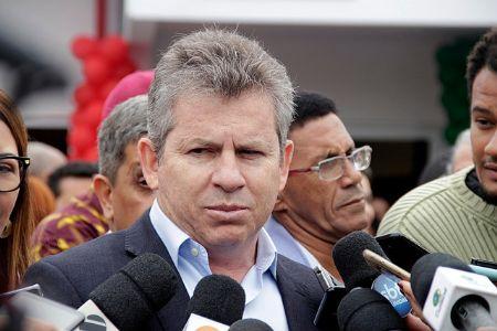 Governador Mauro Mendes em entrevista à imprensa durante reinauguração da UPA Cristo Rei, em VG, nesta manhã (Crédito: Rodinei Crescêncio)