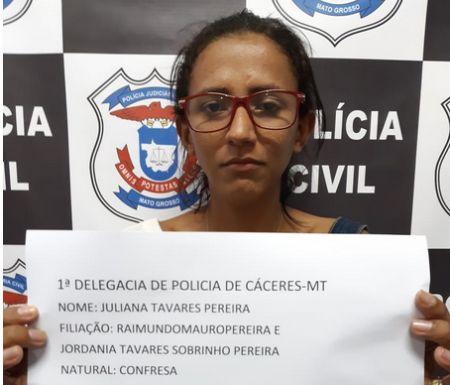 Juliana Tavares Pereira foi presa em flagrante pelo crime de tráfico de drogas (Crédito: Agência da Notícia)