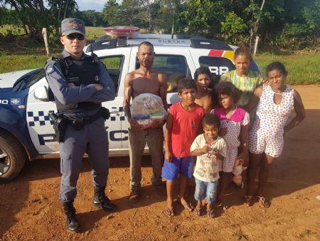 Em Santa Cruz do Xingu 15 famílias foram agraciadas com os alimentos (Crédito: Agência da Notícia)