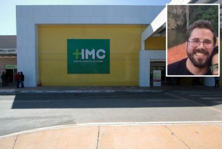 Fachada do Hospital Municipal de Cuiabá, onde médico Thiago Vieira (detalhe) atuava (Crédito: Fachada do Hospital Municipal de Cuiabá, onde médico Thiago Vieira (detalhe) atuava)
