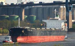 Um navio modelo Panamax com 75 mil toneladas de soja em grão produzida em Mato Grosso e embarcada no Porto de Santos (Crédito: Reprodução)
